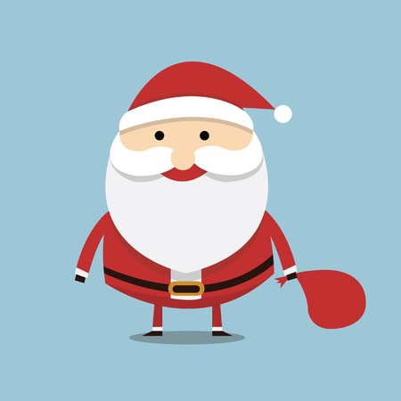 white bacjground: Santa claus on blue background. Vector illustration for retro christmas card.