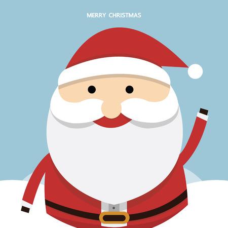 white bacjground: Santa claus on blue background. Vector illustration for retro christmas card.