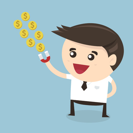 attracting: Businessman hold magnet attracting money. happy business concept.