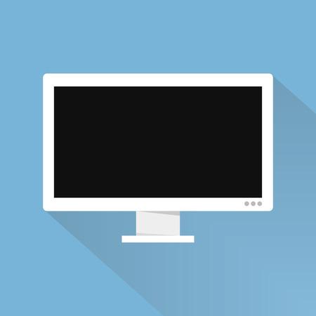 te negro: Computer widescreen monitor sign icon. flat design icon, long shadow.