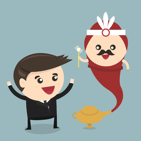 genie lamp: Businessman and genie giant in the magic lamp, flat design, vector