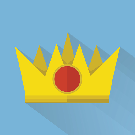 monarchy: Crown in flat style with long shadow, illustration Illustration