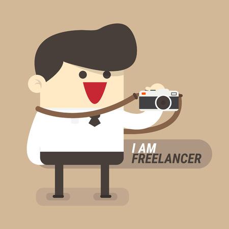 runaway: Freelancer concept, businessman with camera Illustration