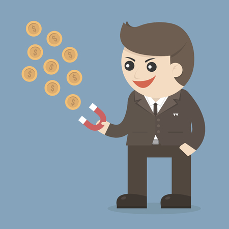 polarize: businessman with money red magnet