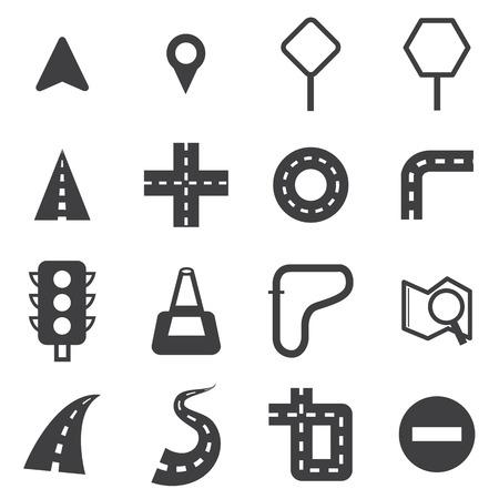 carretera: Vector conjunto de iconos de carretera