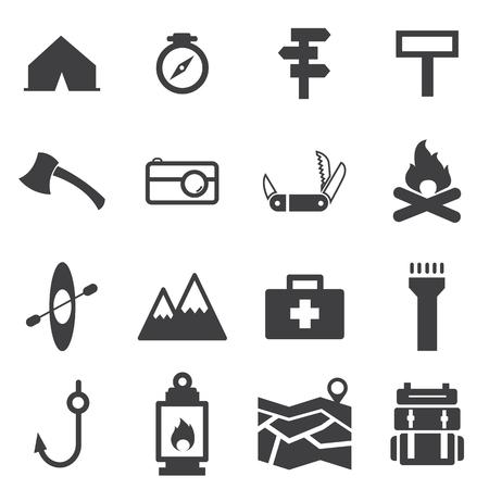 camping: camp icon set