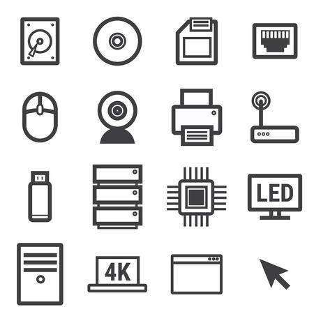 lcd monitor printer: Computer Icon Set Vector