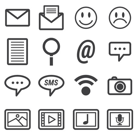 network and media: Media and communication icons Illustration