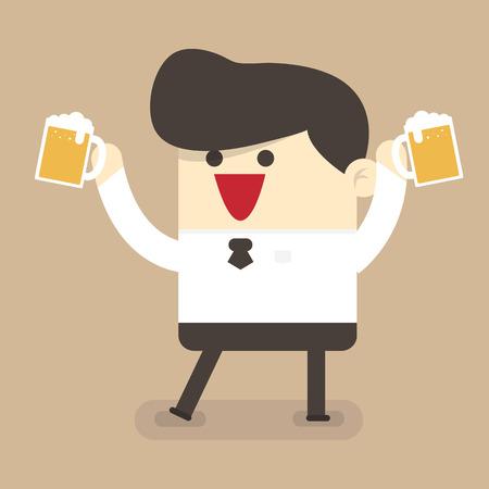 tomando alcohol: beber cerveza hombre de negocios Vectores