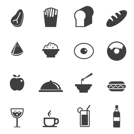 chicken rice: Food and Drink icons set Illustration