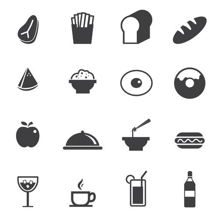 steak plate: Food and Drink icons set Illustration