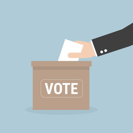 Voting concept in flat style - hand putting voting paper in the ballot box Illustration