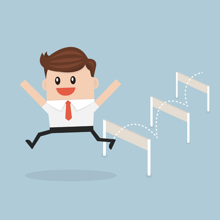 businessman jumping: Businessman Jumping Over Hurdle