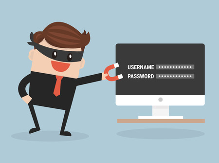 stealing data: Hacker stealing sensitive data as passwords