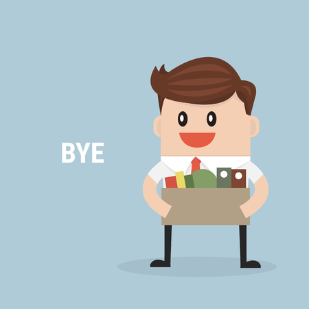 Businessman Leaving Job, vector, flat design