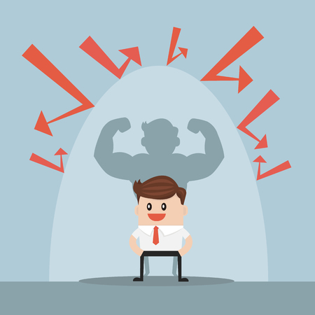 Businessman protected from the bad thing by the invisible shield, flat design. vector