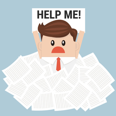 despondent: Businessman need help under a lot of white paper, flat design Illustration