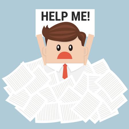 Homme d'affaires ont besoin d'aide sous beaucoup de papier blanc, design plat Vecteurs