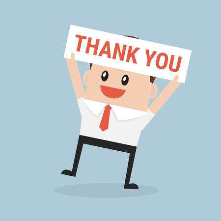 Businessman hands holding Thank you sign vector Illustration