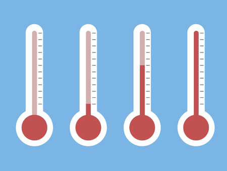 illustration of red thermometers with different levels, flat style 向量圖像