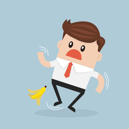banana peel: Businessman slipping on a banana peel. vector. flat design Illustration