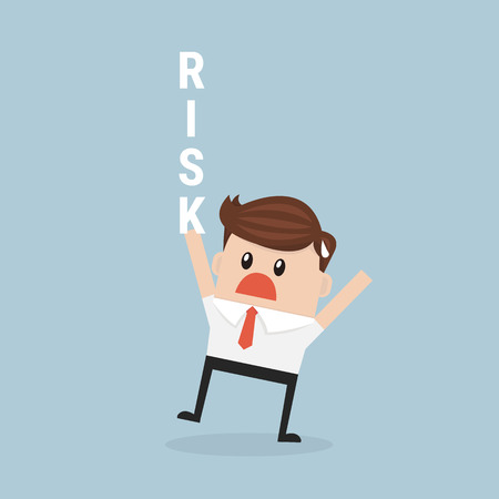 risky: businessman hold risk text.