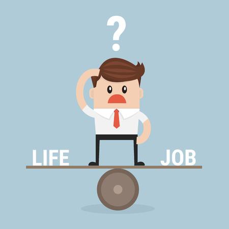 responsabilidad: El hombre de negocios equilibrio entre el trabajo y la vida. vector. diseño plano