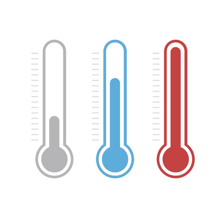 symbol: Isolated thermometers in different colors