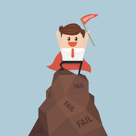 succeed: businessman holding a flag that succeed on mountain. success concept. vector. flat design