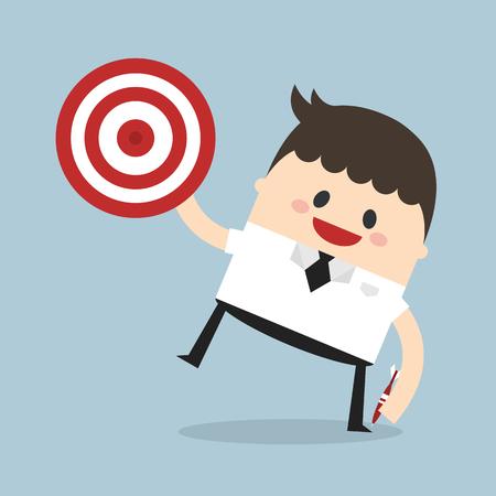 opportunity concept: Businessman shoot target, flat design