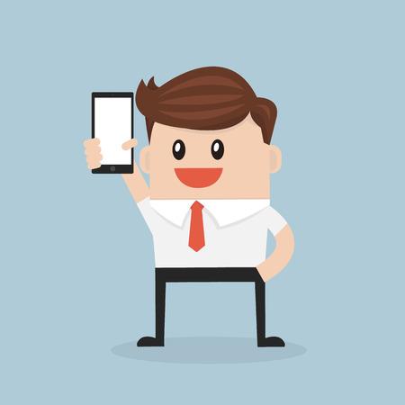 smart man: Business man show smart phone. vector. flat design