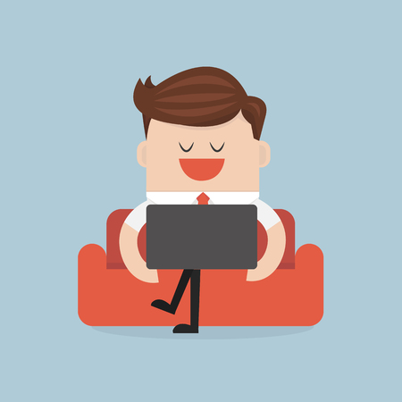 people laptop: Businessman with computer notebook on the sofa. flat design. vector. businessman with laptop. Illustration