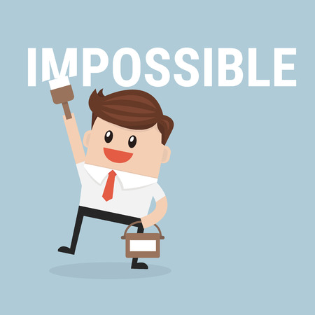 possible: Businessman painting the word impossible to possible Illustration