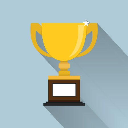trophy cup: Trophy Cup Flat Icon with Long Shadow. vector Illustration