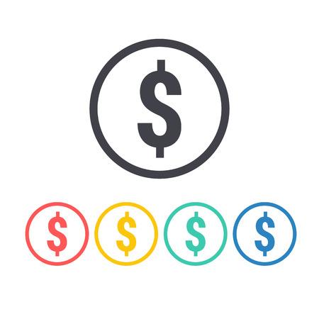 dollaro: Dollaro icona segno Vettoriali