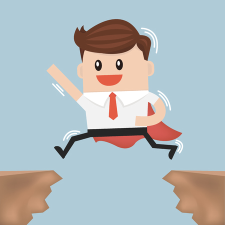 gap: Businessman jump through the gap from one cliff to another