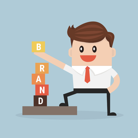 product brand: Businessman is building BRAND, vector, flat design Illustration