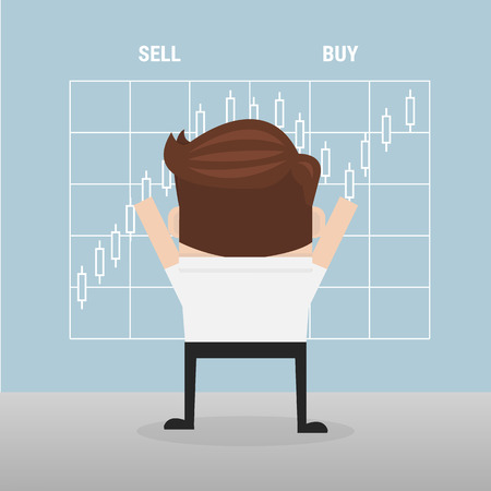 share prices: Businessman and the choice sell or buy