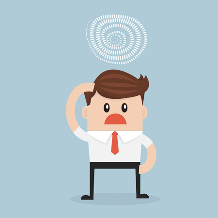 weariness: businessman confused with the idea to solve the problem. vector. flat design Illustration