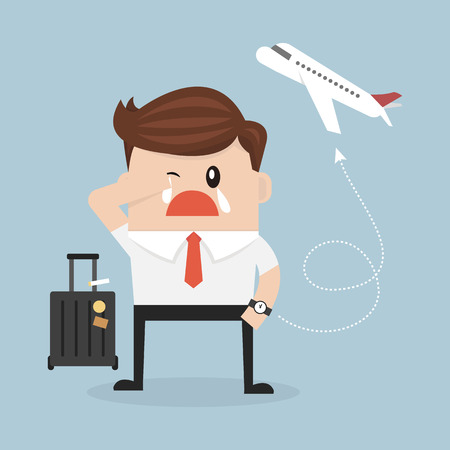 oblivious: businessman plane missing the airplane. flat design. vector
