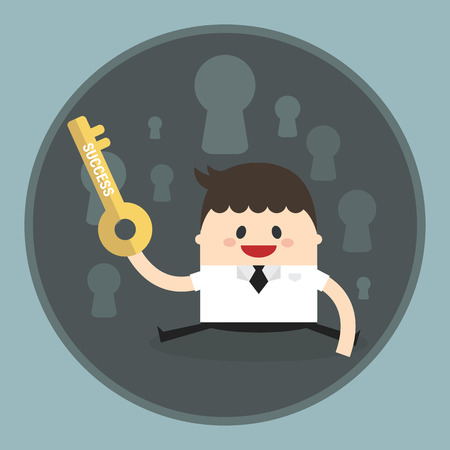 key to success: Businessman key success Illustration