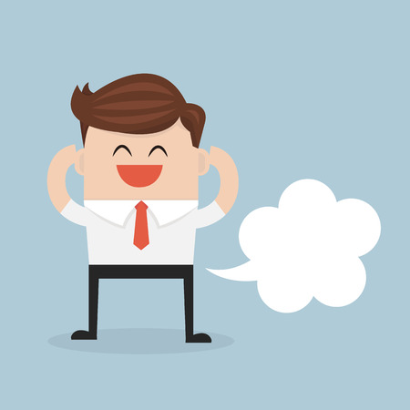farting: Businessman farting with blank balloon out from his bottom, flat design. vector