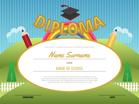 elementary: Kids Diploma certificate background template, Preschool Elementary, vector illustration.