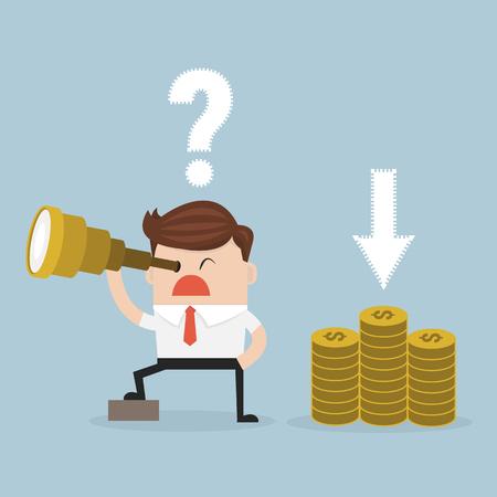 confused businessman: Confused businessman look for money in wrong direction. vector. flat design