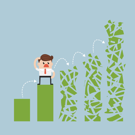 frightened man in a chart going down. vector. flat design