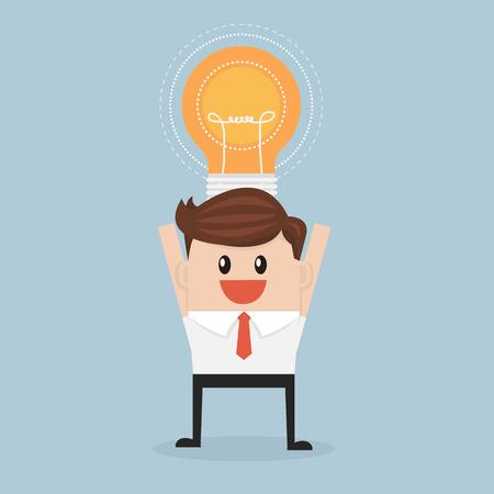 Light bulb head businessman. idea concept. vector. flat design Ilustração