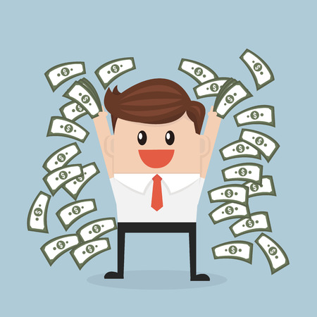 throwing: Happy young businessman throwing money up. vector. flat design Illustration