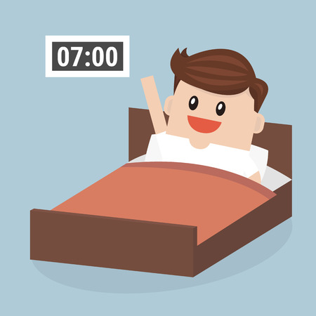 wake: Businessman wake up early, vector, flat design