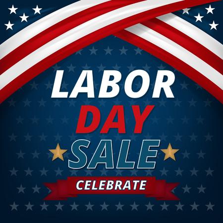 Labor day sale promotion advertising banner design, Vector illustration. Illustration