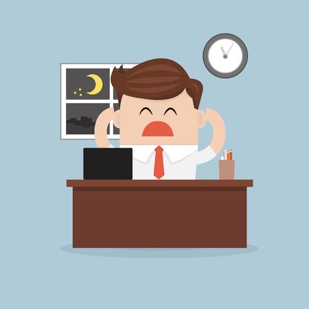 overtime: businessman working overtime. vector. flat design